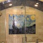 ceramic tile Starry Night bathroom remodel