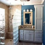 bathroom remodel with glass block shower