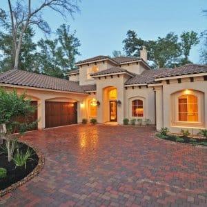 stucco house, window, Mediterrean home, brick driveway