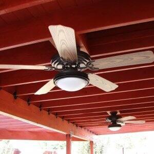 ceiling fan installed in outdoor patio area