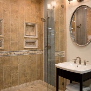 shower with ceramic tile