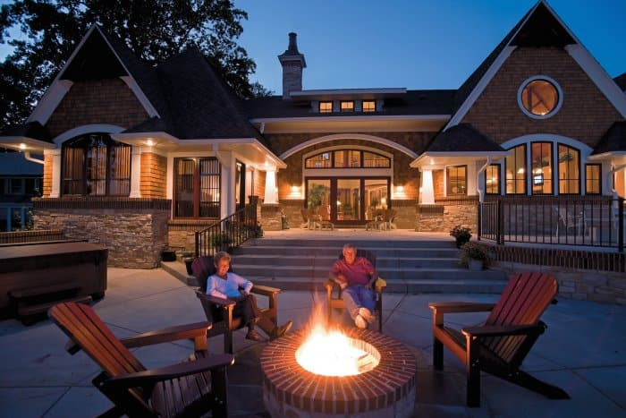 people relaxing by fire pit