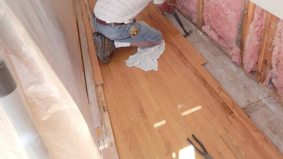 water damaged subfloor and drywall
