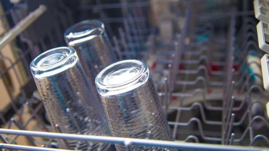 glasses in dishwasher