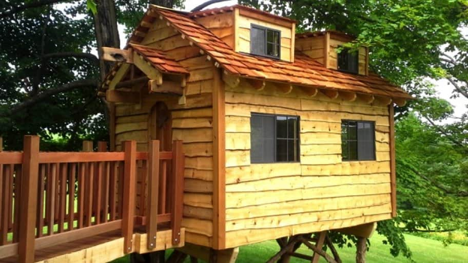 Treehouses aren't just for kids. Builders can customize an adult treehouse that can range in size and scope, having everything from windows to electricity. (Photo courtesy of Tree Top Builders, West Chester, Pa.)