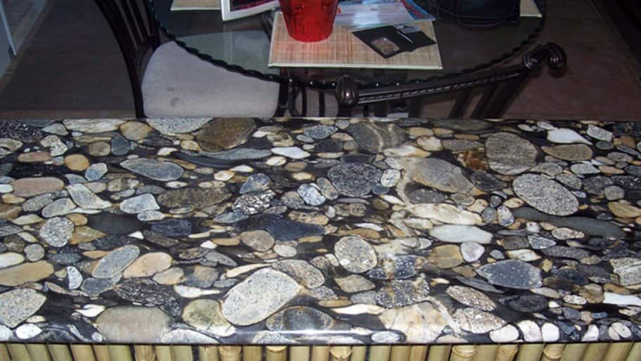 bar countertop with unique granite design