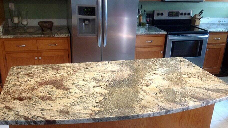 granite countertops, island in kitchen