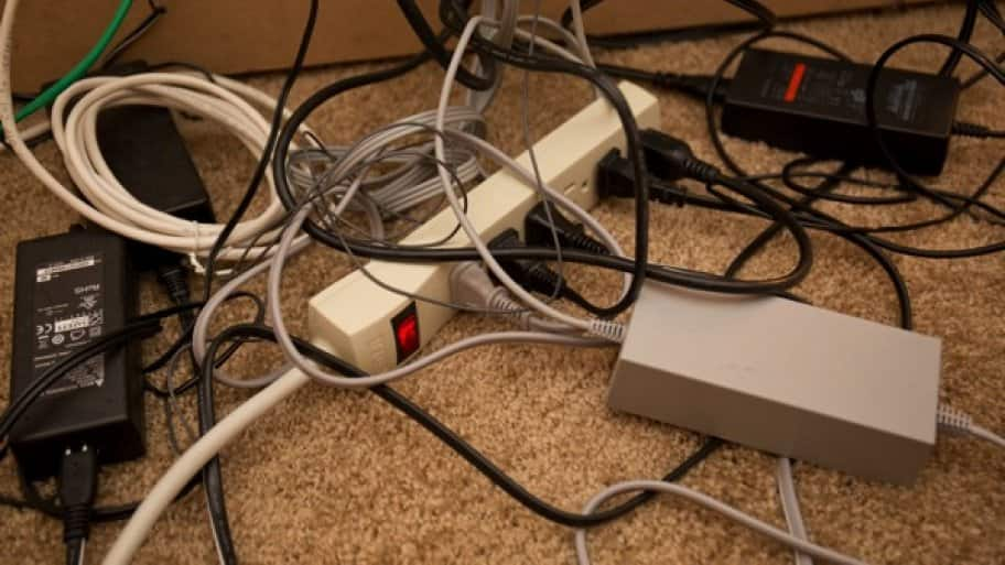 tangled electronic cords