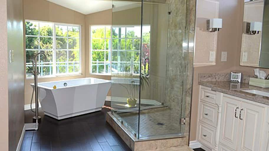 separate shower and tub walk-in shower