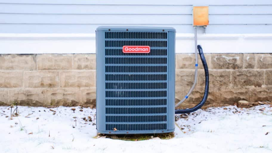 A/C unit outside in winter